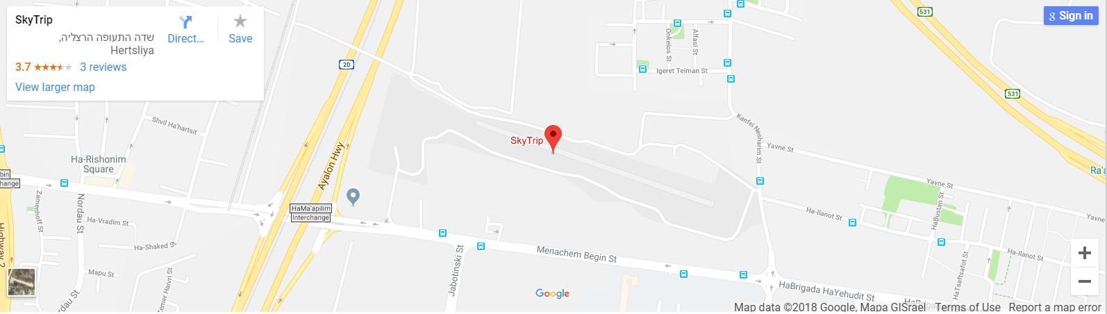 תמונה של מפה עם מיקום העסק של חברת skytrip